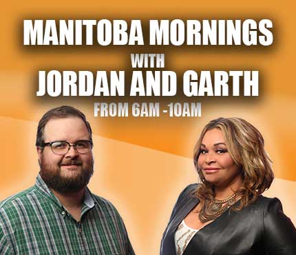 NCI FM website mobile banner promo for Manitoba radio show Manitoba Mornings with Jordan and Garth heard weekdays 6pm-10am featuring image of hosts Garth and Jordan with a an orange colour background.