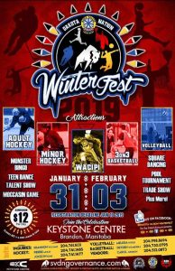 Dakota Nation Winter Fest poster styled in red with imagery of sports and Indigenous design. The poster features promos and headlines for the many festival activities including hockey and a tradeshow.